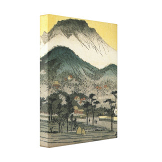 Japanese Mountains and Village Canvas Prints