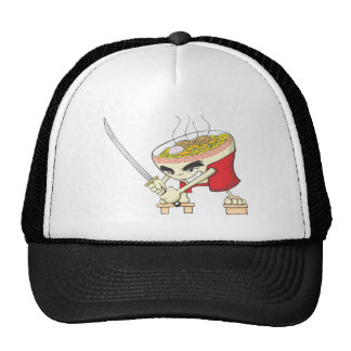 Japanese Noodle Soup Fighter with Samurai Sword Trucker Hats