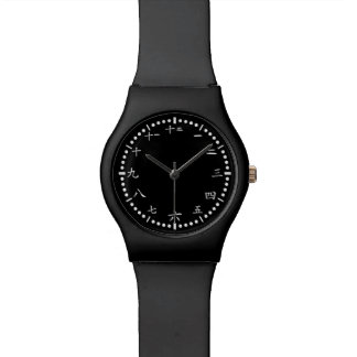Japanese numbers black background watch