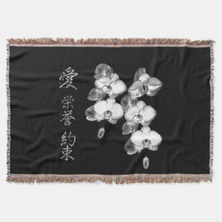 Japanese Orchids in Black Throw Blanket