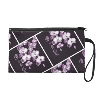 Japanese Orchids in Plum Wristlet