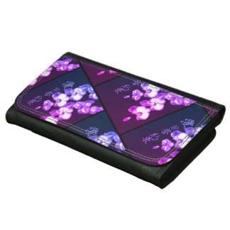 Japanese Orchids Leather Wallet