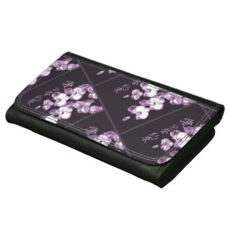 Japanese Orchids Leather Wallet For Women