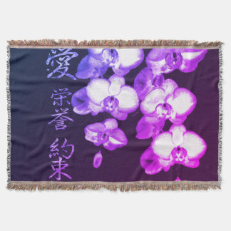 Japanese Orchids Throw Blanket