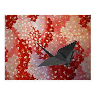 japanese Origami crane pink Sakura cherry blossom Postcard