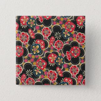 Japanese Origami Design Multi-Color Flowers Kimono 15 Cm Square Badge