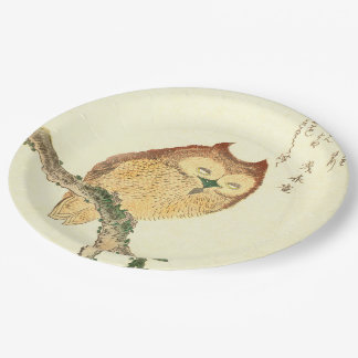 JAPANESE OWL ON A MAGNOLIA BRANCH Paper Plates