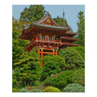 Japanese Pagoda photo painting Poster