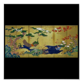 Japanese Painting c. 1500's Peacock Posters