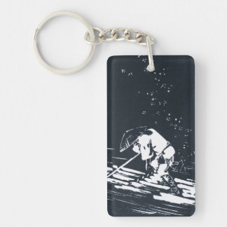 Japanese Painting Hanaikada in Black and White Key Ring
