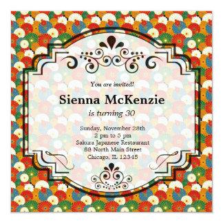 Japanese pattern 13 cm x 13 cm square invitation card
