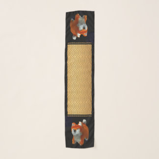 Japanese pattern Shiba Dog Year all-over p scarf