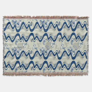 Japanese pattern with moon rabbits throw blanket