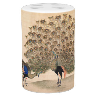 Japanese Peacock Birds Animals Bath Set
