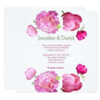 Japanese Peonies Watercolor Wedding Invitation