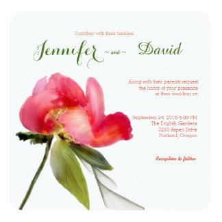 Japanese Peony Watercolor Wedding Invitation