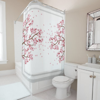 Japanese Pink Cherry Blossoms Shower Curtain