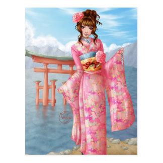 Japanese pink kimono postcard