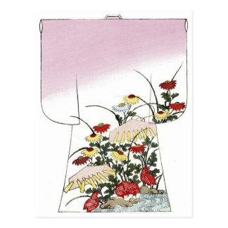Japanese Pink Kimono Woodblock design Postcard