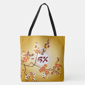 Japanese Plum Blossoms Moon Gold Orange Red Branch Tote Bag