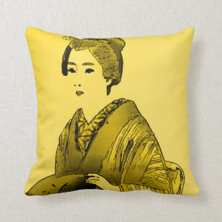 Japanese Princess Watercolor Art Throw Pillow