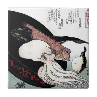 Japanese Print Octopus Fish Woodblock Ceramic Tile