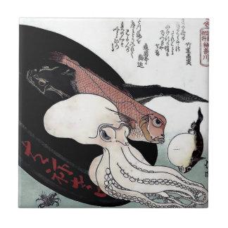Japanese Print Octopus Fish Woodblock Small Square Tile