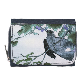 Japanese Print of a Bird eating Grapes Wallet
