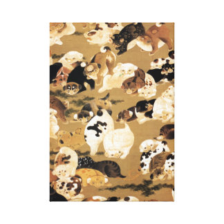 Japanese Puppies Stretched Canvas Print