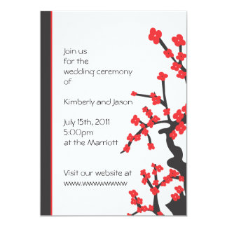Japanese red blossoms wedding invitation