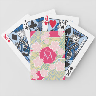 Japanese Sakura Cherry Blossoms Geometric Patterns Bicycle Playing Cards