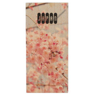 Japanese Sakura. Cherry Blossoms. Spring. Wood USB Flash Drive