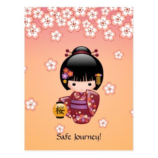 Japanese Sakura Kokeshi Doll Safe Journey Postcards