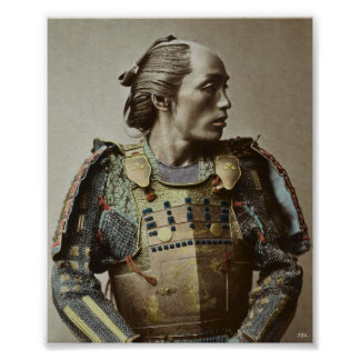 Japanese Samurai Vintage Photo Hand colored Poster
