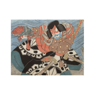 Japanese Samurai Vintage Warrior Wood Poster