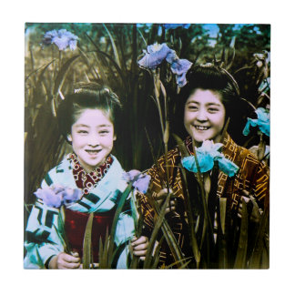 Japanese School Girls in the Garden Vintage Ceramic Tile