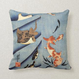 Japanese Sea Life, Ancient Japanese art. c. 1800's Cushion