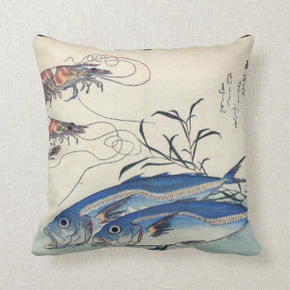 Japanese Sea Life Painting circa 1800's Cushion