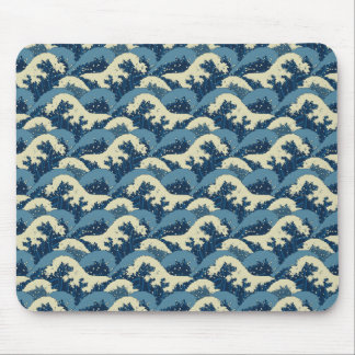 Japanese sea waves pattern mouse pad
