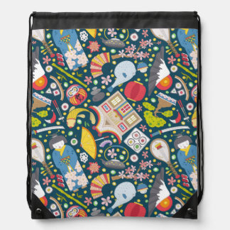 Japanese Seamless Pattern Drawstring Bag