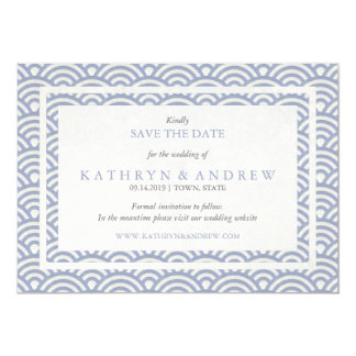Japanese Seigaiha Save The Date Without Photo 13 Cm X 18 Cm Invitation Card
