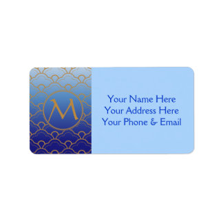 Japanese Seigaiha Scallop Gradated Royal Blue Gold Address Label