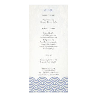 Japanese Seigaiha Waves Elegant Beach Wedding Menu Custom Rack Card