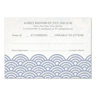 Japanese Seigaiha Waves Elegant Beach Wedding RSVP 9 Cm X 13 Cm Invitation Card