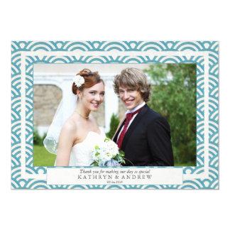 Japanese Seigaiha Wedding Thank You Flat Photo 13 Cm X 18 Cm Invitation Card