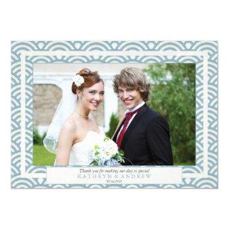 Japanese Seigaiha Wedding Thank You Flat Photo Card