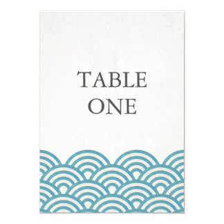 Japanese Seigha Stylized Waves Large Table Number 13 Cm X 18 Cm Invitation Card
