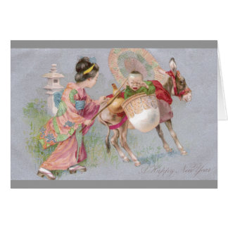 Japanese Shogatsu New Year Baby on Mule Greeting Card