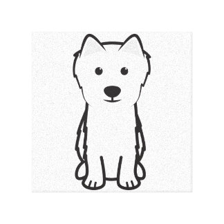 Japanese Spitz Dog Cartoon Stretched Canvas Print