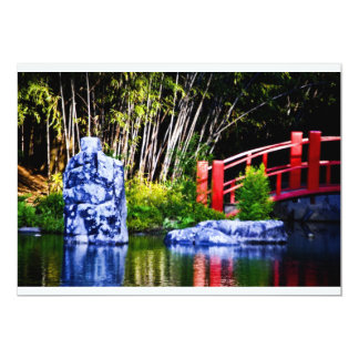 Japanese Stone and Bridge 13 Cm X 18 Cm Invitation Card